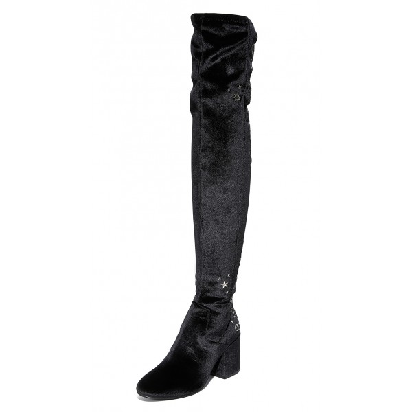 Black Stars Embroidered Long Boots Velvet  Over-the-knee Boots image 2
