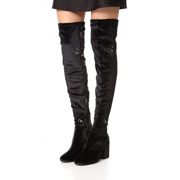 Black Stars Embroidered Long Boots Velvet  Over-the-knee Boots image 1