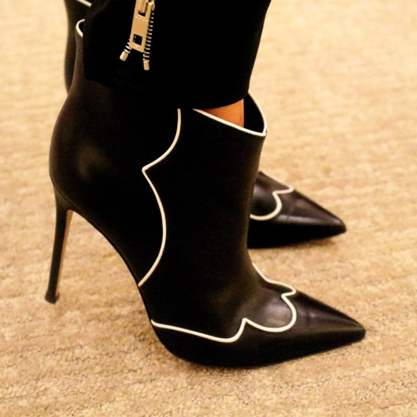 Black Stiletto Boots Fashion Pointy Toe Heeled Ankle Booties image 2