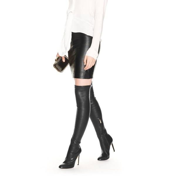 Black Stiletto Boots Pointed Toe Sexy Over-the-Knee Boots for Women image 2