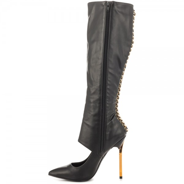 Black Fashion Boots Pointed Toe Gold Stiletto Heels Mid-Calf Boots image 6