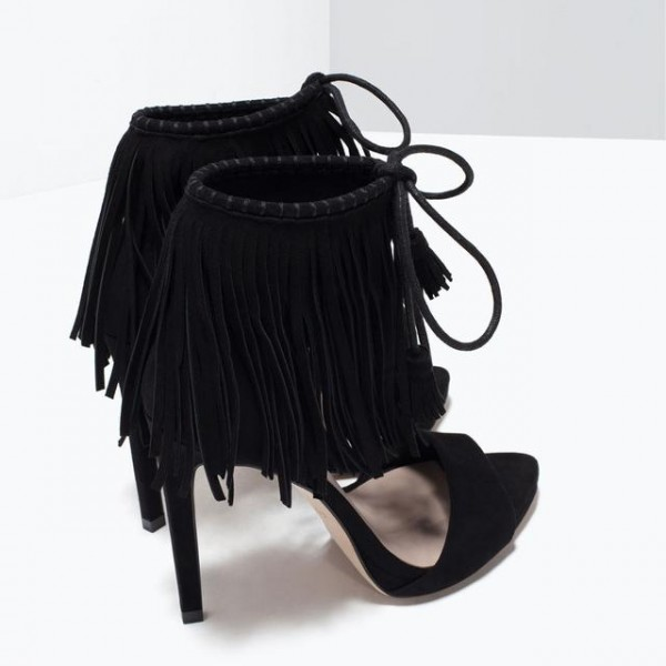 Black Fringe Sandals Suede Lace up Stiletto Heels for Women image 4