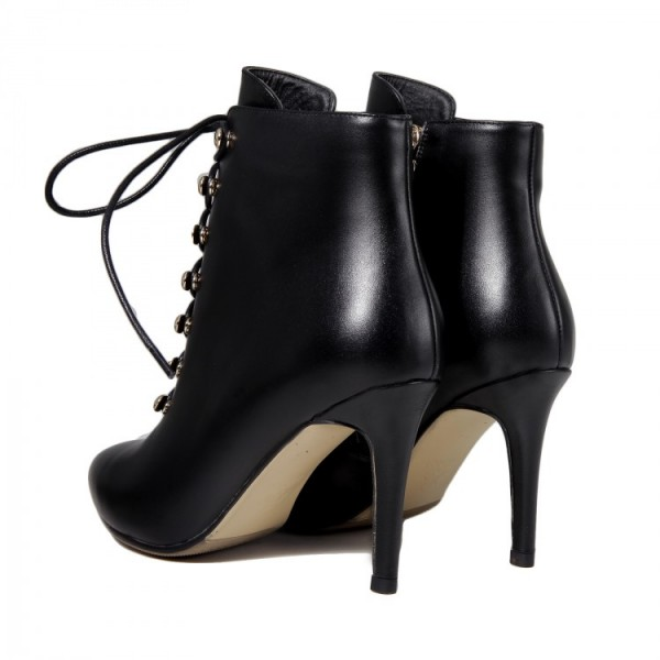 Black Lace up Boots Stiletto Heel Work Booties for Women image 4