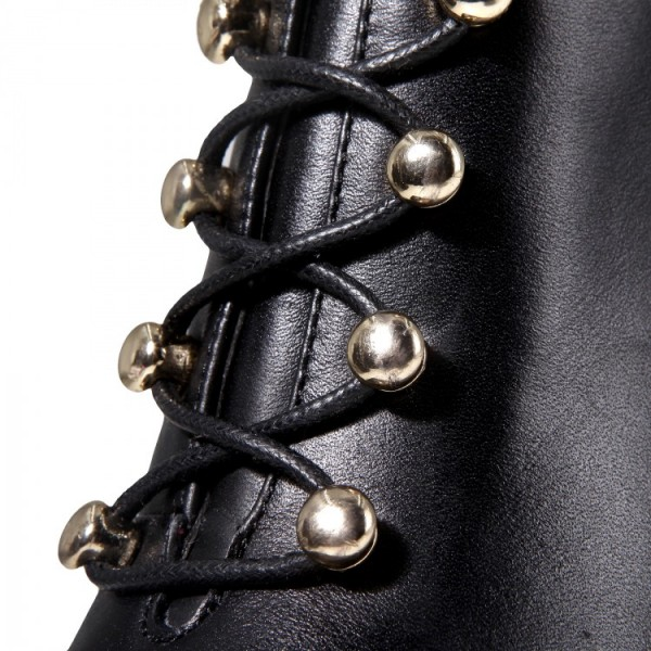 Black Lace up Boots Stiletto Heel Work Booties for Women image 5