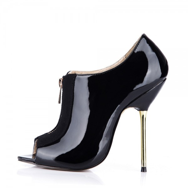 Women's Black Fashion Boots Peep Toe Stiletto Heels Ankle Boots image 5