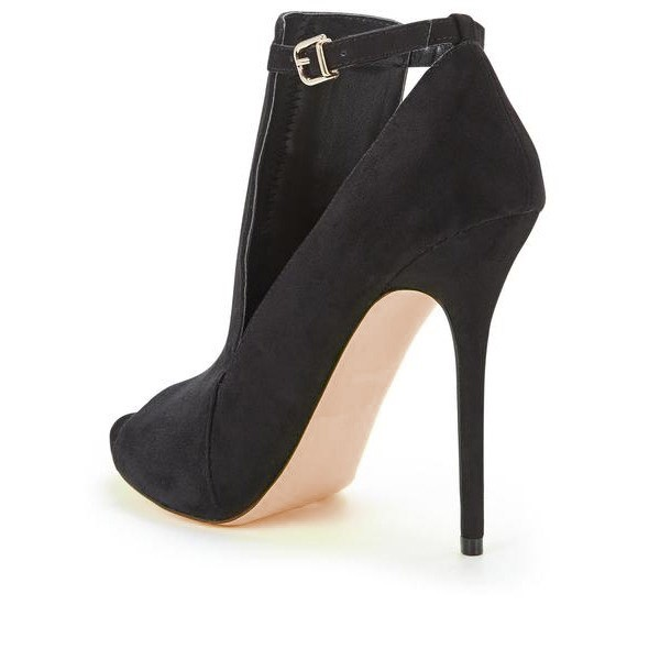 Black Peep Toe Heels Cut out Suede Ankle Strap Stiletto Heel Pumps image 5