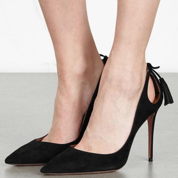 Black Suede Stiletto Heels Pointy Toe Pumps with Tassels image 4