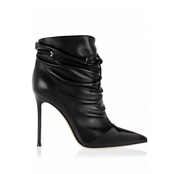 Black Slouch Boots Pointy Toe Stiletto Heel Ankle Booties for Women image 2