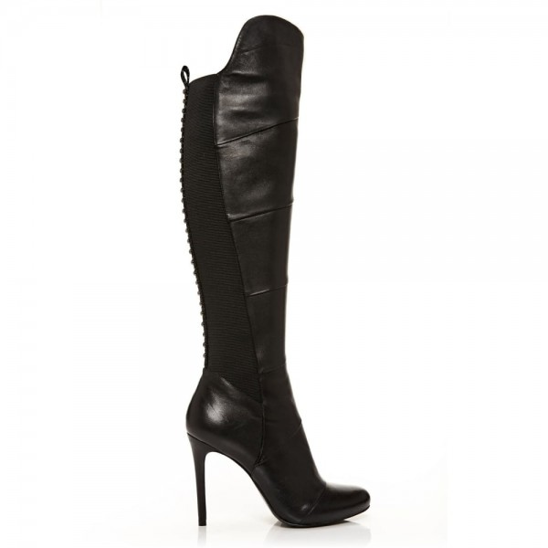 Black Stiletto Heels Fashion Boots Stitching Leather Knee High Boots  image 2