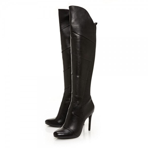 Black Stiletto Heels Fashion Boots Stitching Leather Knee High Boots  image 1