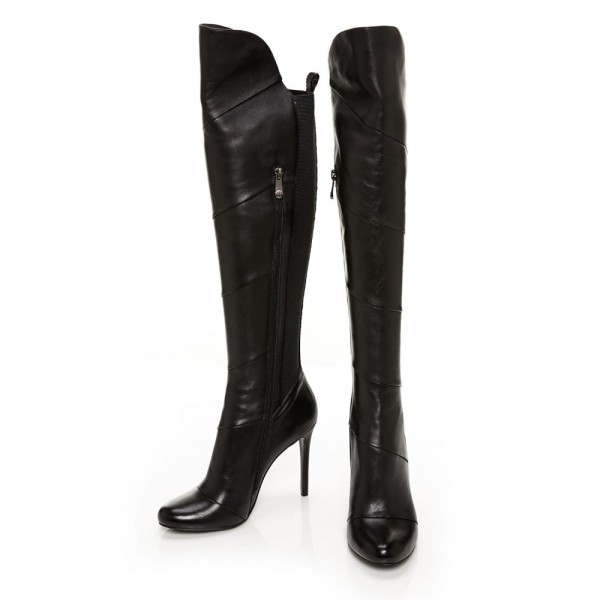 Black Stiletto Heels Fashion Boots Stitching Leather Knee High Boots  image 5