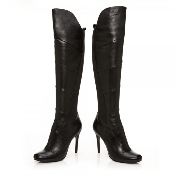 Black Stiletto Heels Fashion Boots Stitching Leather Knee High Boots  image 6