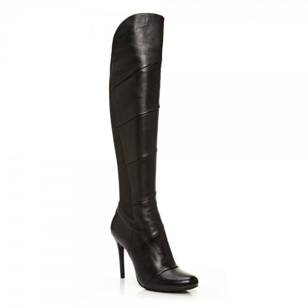 Black Stiletto Heels Fashion Boots Stitching Leather Knee High Boots  image 7