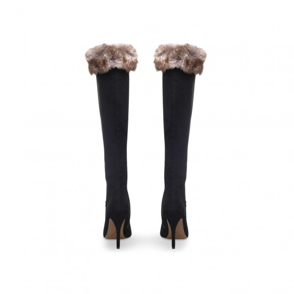 Black Stiletto Heels Fur Boots Pointy Toe Knee High Boots image 3