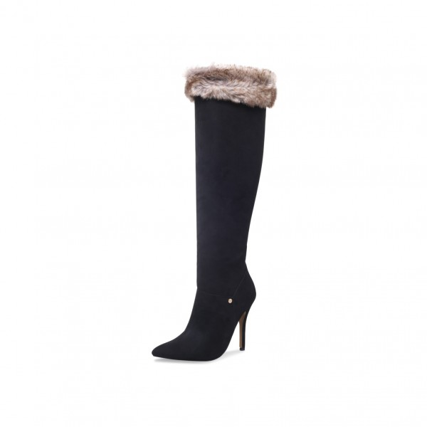Black Stiletto Heels Fur Boots Pointy Toe Knee High Boots image 1