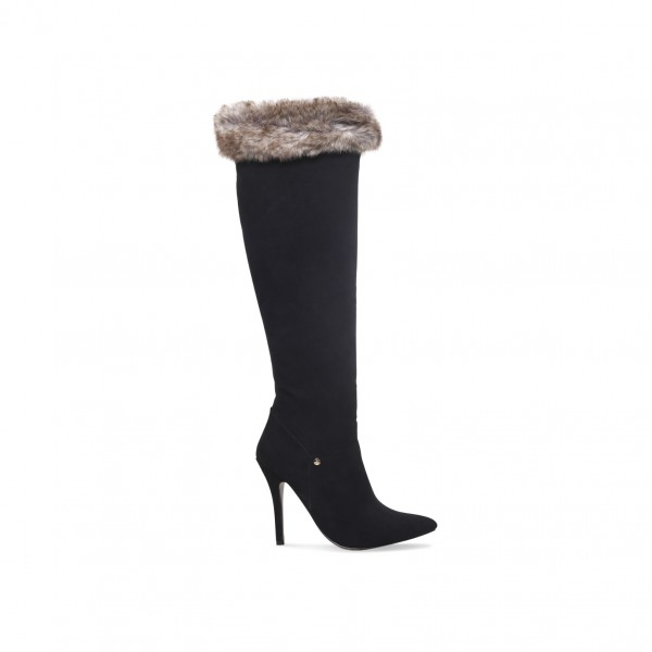 Black Stiletto Heels Fur Boots Pointy Toe Knee High Boots image 2