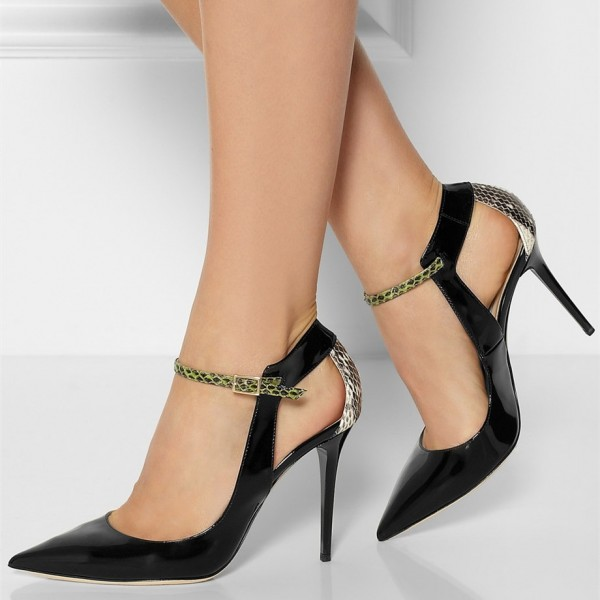 Black Stiletto Heels Pointy Toe Python Pumps for Ladies image 3