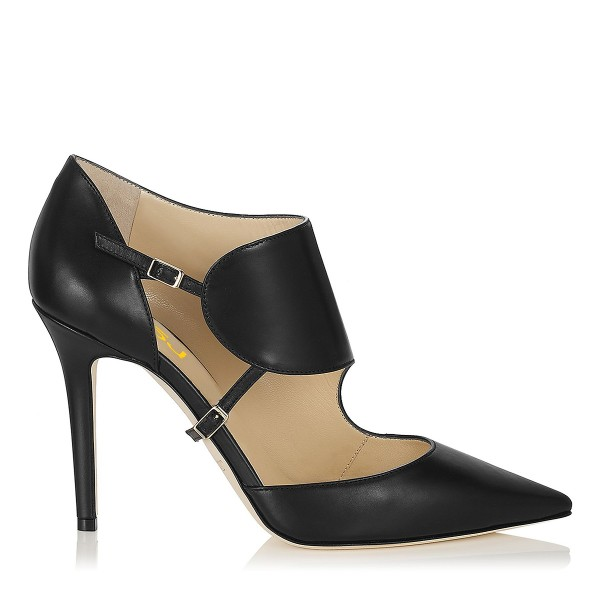 Fashion Black Stiletto Heels Pointy Toe Buckle Pumps Vintage Shoes image 4