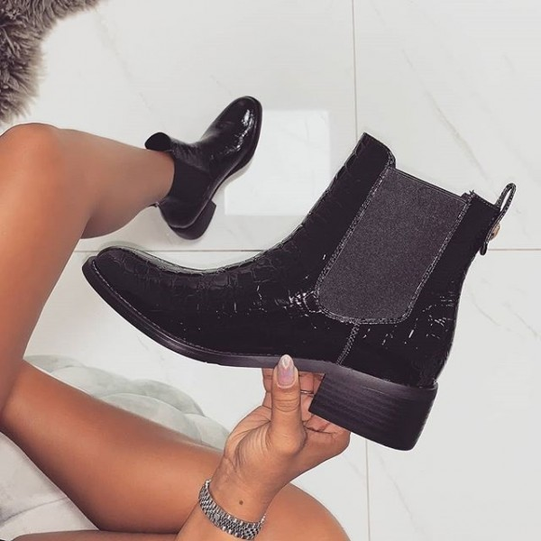 Black Stone Pattern Chunky Heel Chelsea Boots Round Toe Ankle Booties image 1