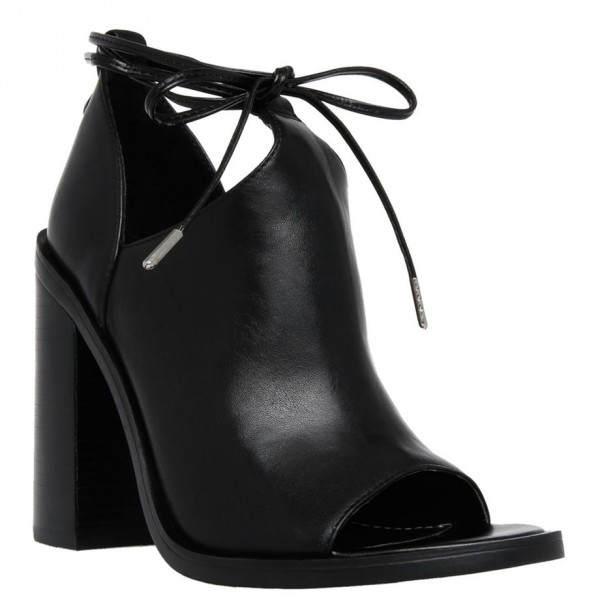 Black Cut Out Boots Open Toe Chunky Heel Strappy Ankle Boots image 4