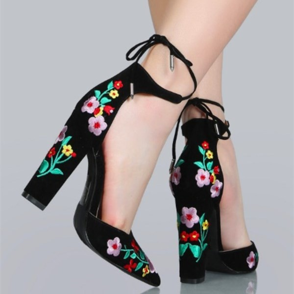 Black Embroidered Floral Heels Suede Pointy Toe Chunky Heels image 2