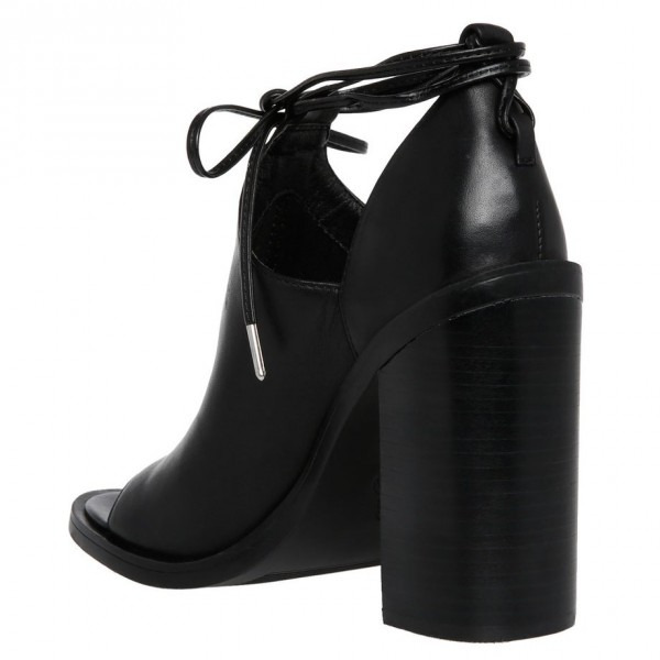 Black Cut Out Boots Open Toe Chunky Heel Strappy Ankle Boots image 3
