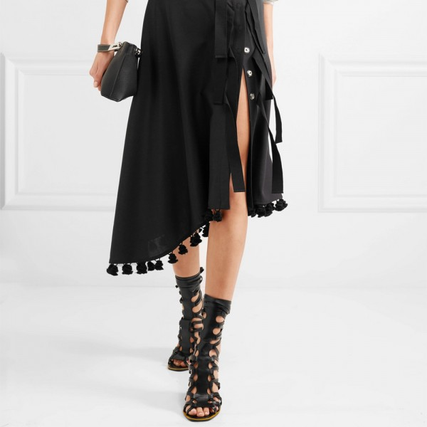 Black Strappy Gladiator Heels Chunky Heel Sandals image 2