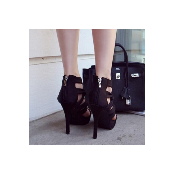Women's Black Strappy Stiletto Heels Open Toe sandals image 4