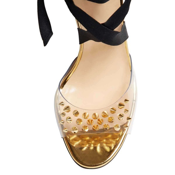 Black Strappy Heels Clear PVC Gold Rivets Stiletto Heel Sandals image 5