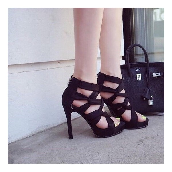 Women's Black Strappy Stiletto Heels Open Toe sandals image 3