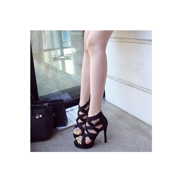Women's Black Strappy Stiletto Heels Open Toe sandals image 6