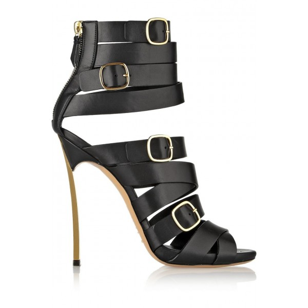 Women's Black Stiletto Heels Dress Shoes Buckle Strappy Sandals image 2