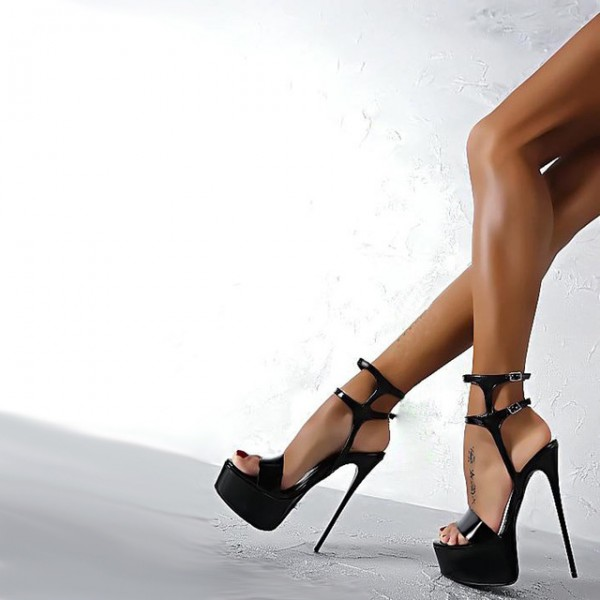 Black Stripper Heels Patent Leather Sandals Stiletto Heel Sexy Shoes image 3