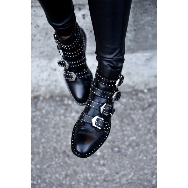 Black Motorcycle Boots Studded Buckles Round Toe Ankle Booties image 2