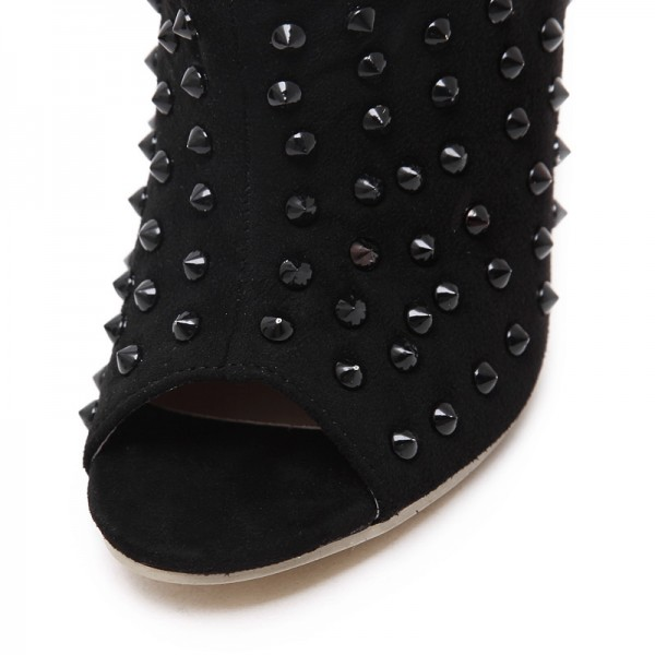 Women's Black Studded Slouch Boots Peep Toe Stiletto Heels with Rivets image 5