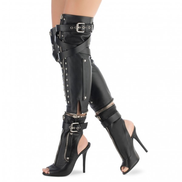 Black Studs Zip Detachable Buckle Cool Over-the-Knee Peep Toe Booties image 1