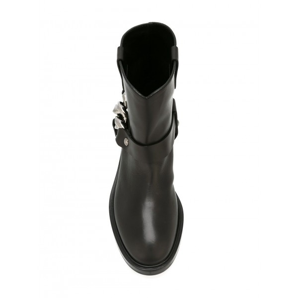 Black Studs Chain Flat Ankle Boots image 2