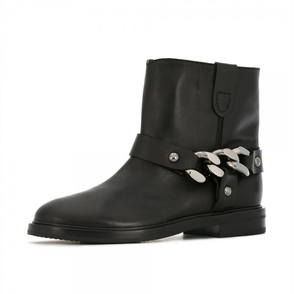 Black Studs Chain Flat Ankle Boots image 1