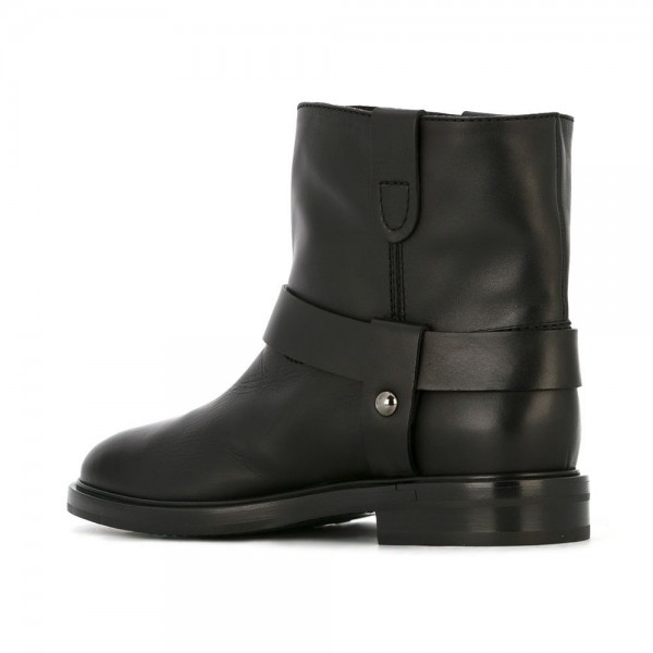 Black Studs Chain Flat Ankle Boots image 4