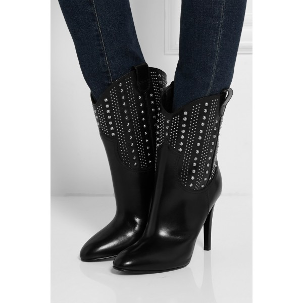 Black studs Cowgirl Boots Stiletto Heel Ankle Boots image 3