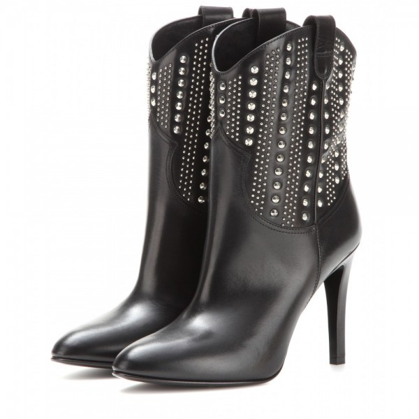 Black studs Cowgirl Boots Stiletto Heel Ankle Boots image 1