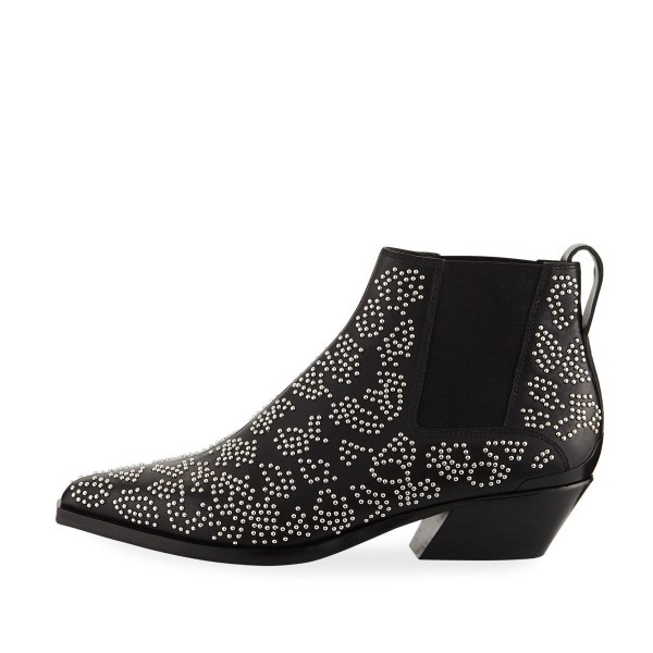 Black Studs Fashion Boots Pointy Toe Chunky Heel Ankle Booties image 2