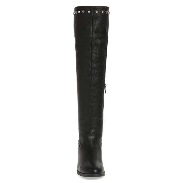 Black Studs Round Toe Flat Long Boots Knee High Boots image 2