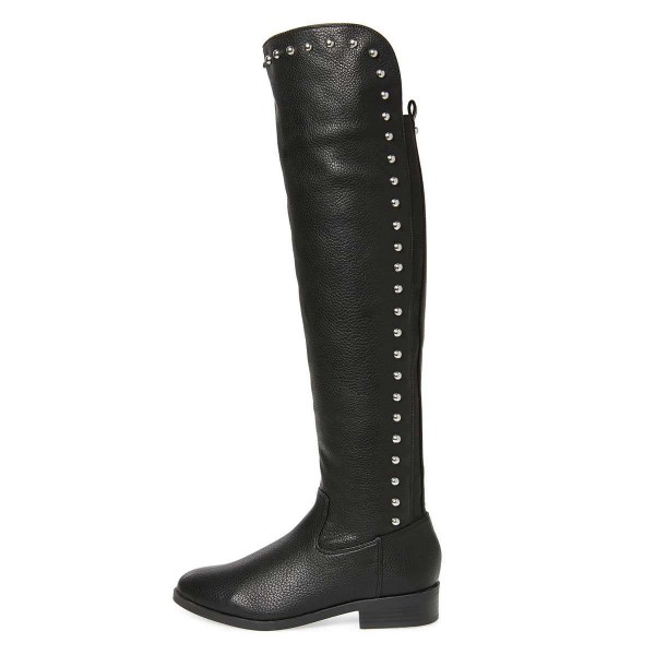 Black Studs Round Toe Flat Long Boots Knee High Boots image 3