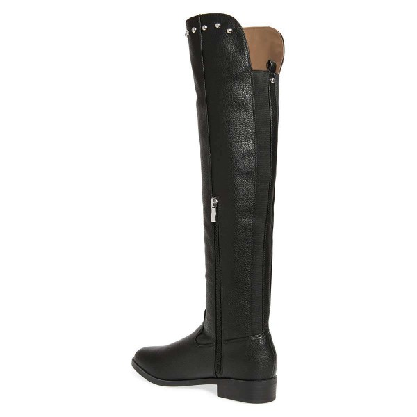 Black Studs Round Toe Flat Long Boots Knee High Boots image 5