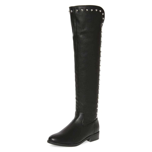Black Studs Round Toe Flat Long Boots Knee High Boots image 1