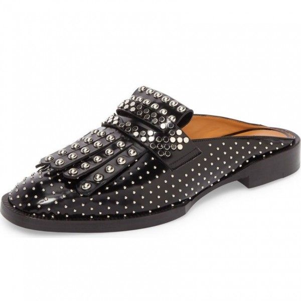 Black Loafer Mules Round Toe Studs Shoes Flat Fringe Loafers for Women image 1