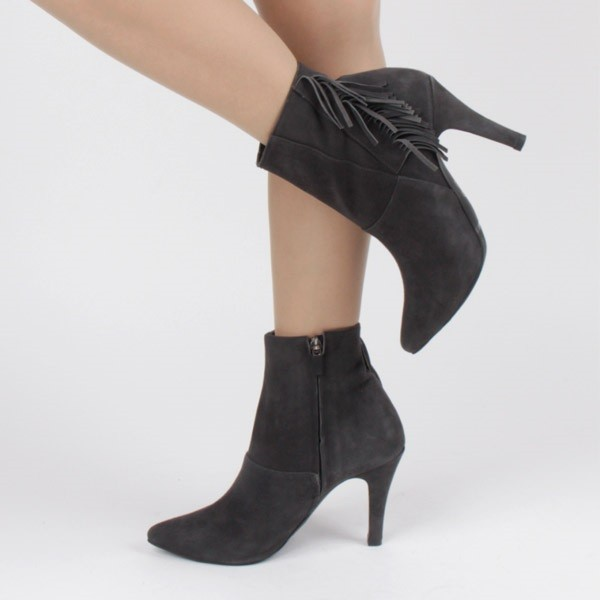Dark Grey Fringe Boots Pointy Toe Suede Ankle Booties for Women image 1