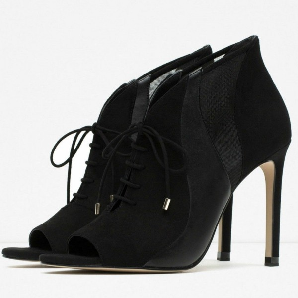 Black Suede Stilettos Boots Peep Toe Lace Up Ankle Booties image 1