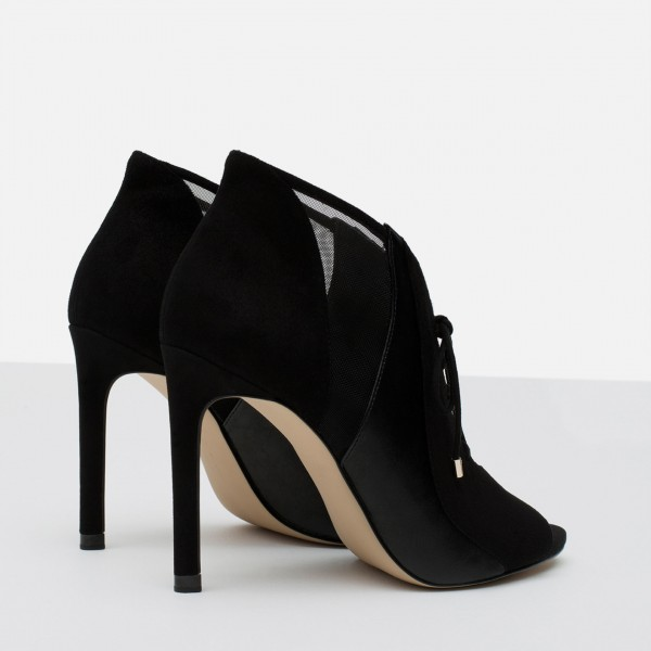 Black Suede Stilettos Boots Peep Toe Lace Up Ankle Booties image 4